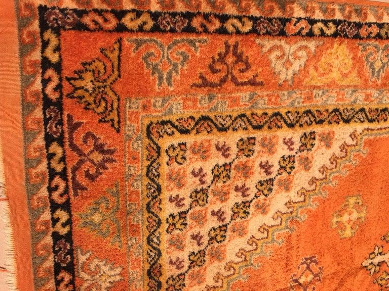 Moroccan Vintage Orange Color Tribal African Pile Rug For Sale 1