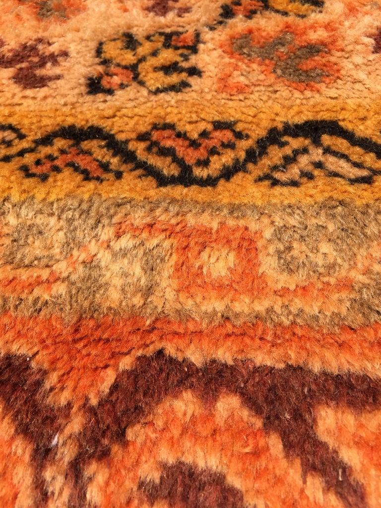 Moroccan Vintage Orange Color Tribal African Pile Rug For Sale 2