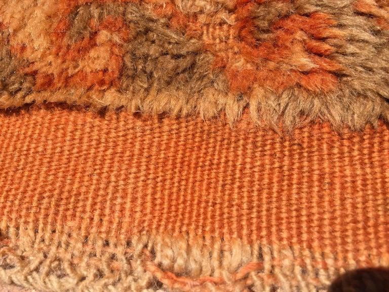 Moroccan Vintage Orange Color Tribal African Pile Rug For Sale 3