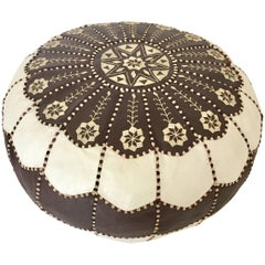 Moroccan Vintage Round Leather Pouf Brown and White Embroidered