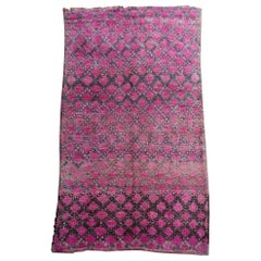 Moroccan Vintage Rug Abstract Design Berber Lilac Green