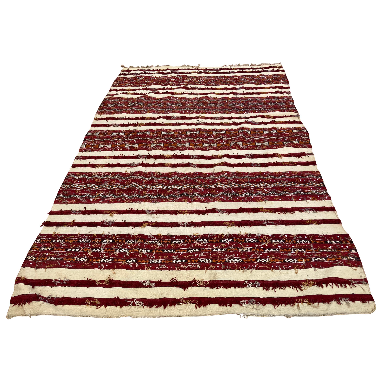 Moroccan Vintage Tribal Kilim Handira Rug, circa 1960