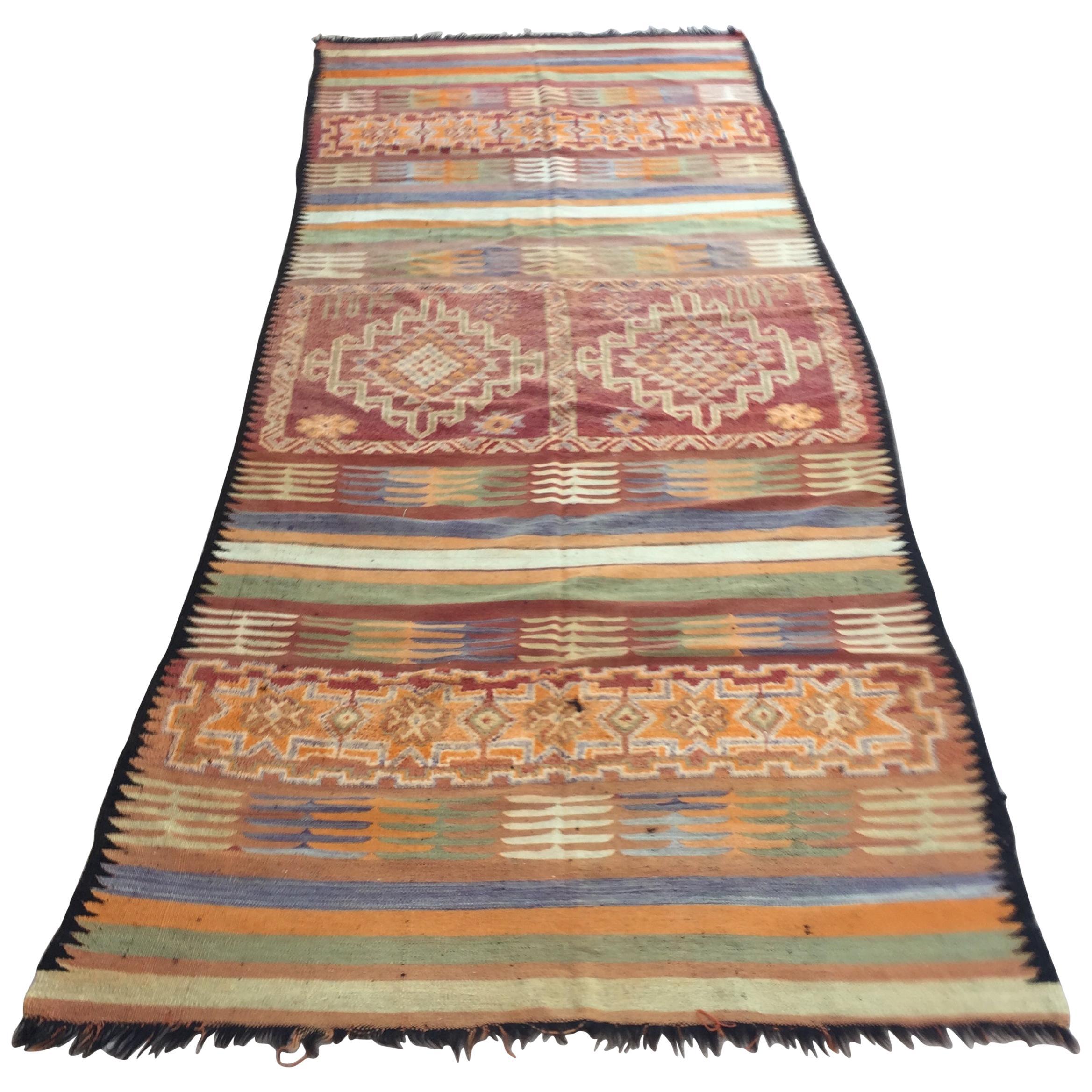 Moroccan Vintage Tribal Kilim Rug, circa 1960