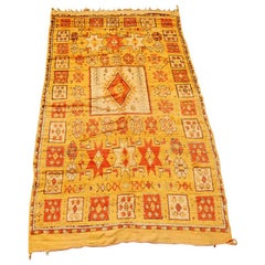 Moroccan Vintage Tribal Safran Organic Wool Rug