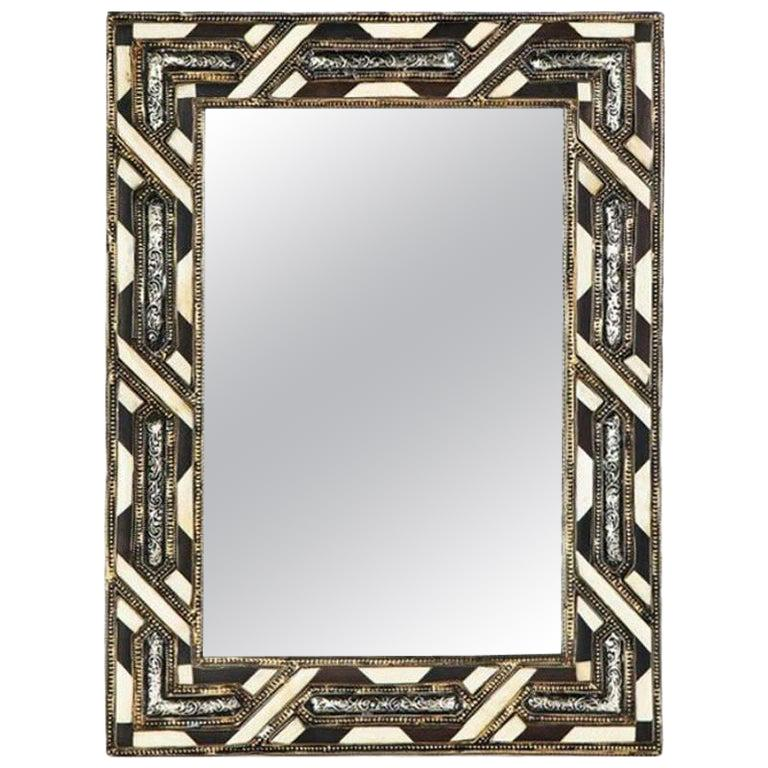 Moroccan White Bone Wall or Console Mirror in Hollywood Regency Style