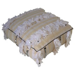 Moroccan White Floor Pillow with Silver Sequins and Long Fringes