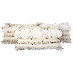 Moroccan White Tribal Pillows with Silver Sequins and Long Fringes