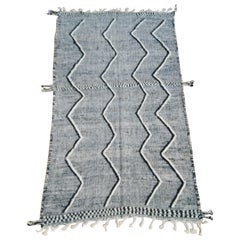 Moroccan Wool Area Rug Hand Embroidered Berber, Black and White Tribal Print