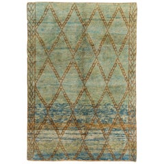 Moroccan Wool Rug in Light Blue Green and Rust Color