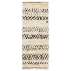 Moroccan Wool Rug with Charcoal Tribal Design on Cream Background