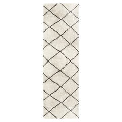 Moroccan Wool Runner with Tribal Geometric Design in Black and White