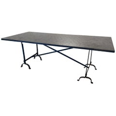 Moroccan Zellige Tile Dining Table in Black and Steel