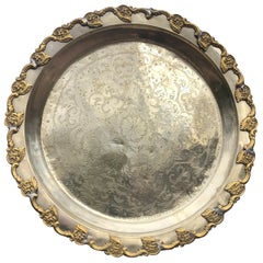 """Morocco Big Old Hand Hammered & Engraved """"Flowers Galore"""" Silver Party Tray"""