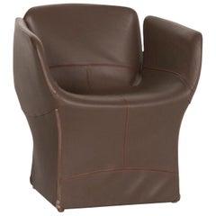 Moroso Bloomy Leather Armchair Brown Dark Brown Patricia Urquiola