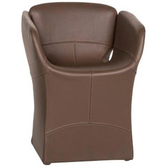 Moroso Bloomy Leather Armchair Brown
