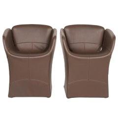 Moroso Bloomy Leather Armchair Set Brown