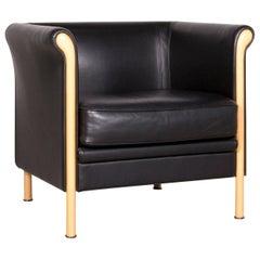 Moroso Designer Leather Armchair in Black, One-Seat Modern