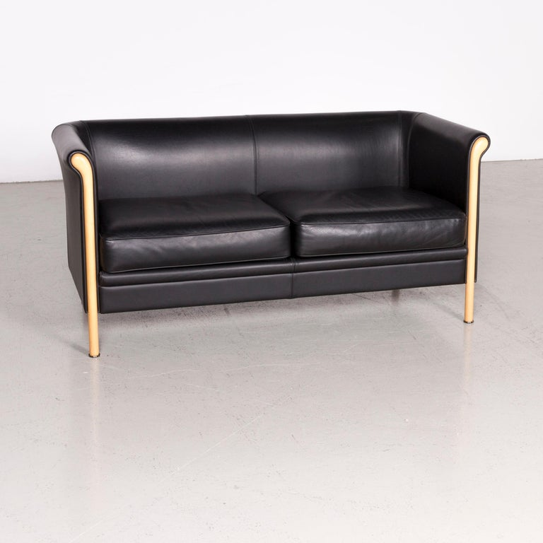 Moroso designer leather sofa in black, two-seat couch.