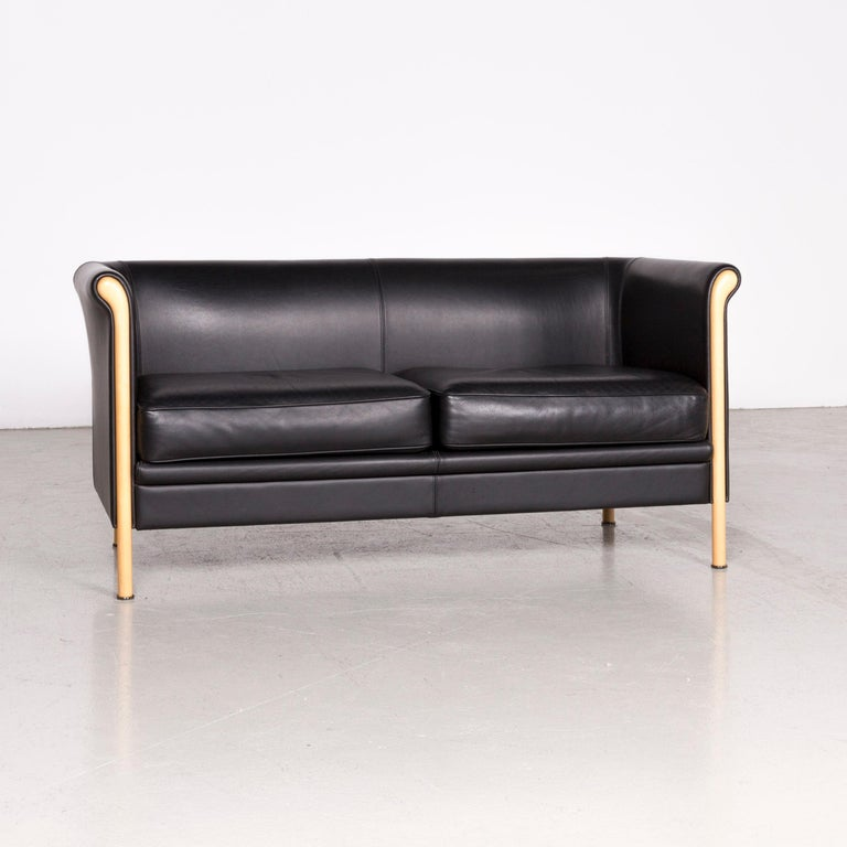 Italian Moroso Designer Leather Sofa in Black, Two-Seat Couch