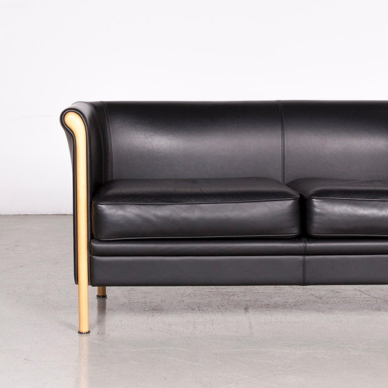 Moroso Designer Leather Sofa in Black, Two-Seat Couch In Good Condition In Cologne, DE