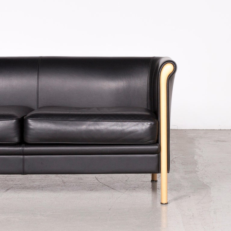 Contemporary Moroso Designer Leather Sofa in Black, Two-Seat Couch