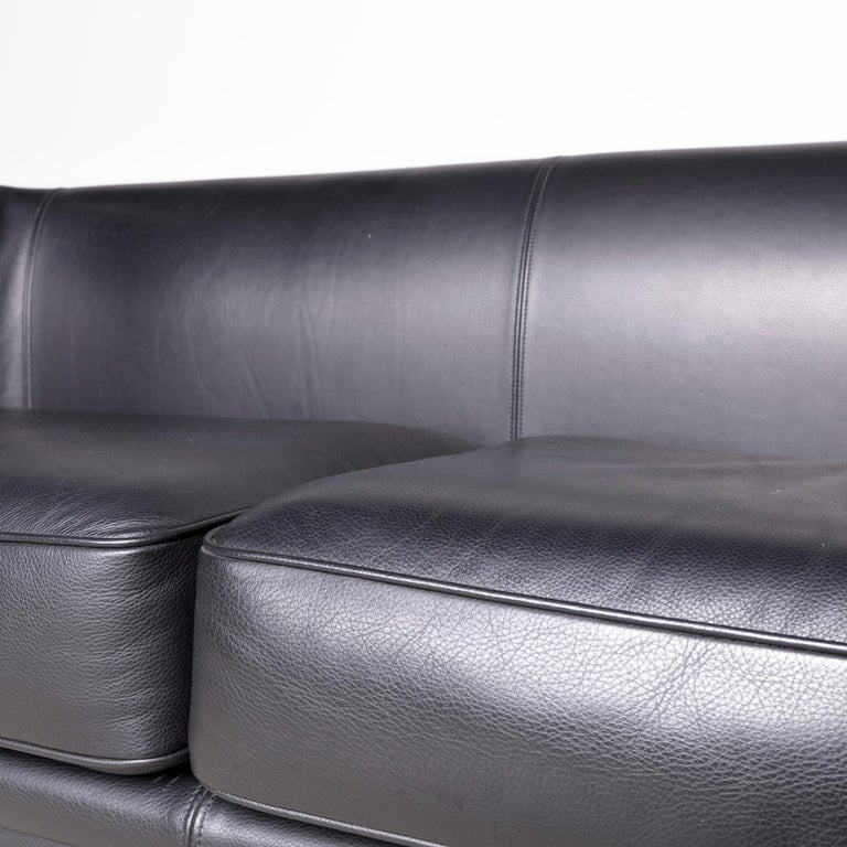 Moroso Designer Leather Sofa in Black, Two-Seat Couch 1