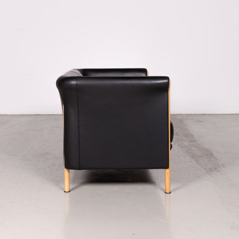 Moroso Designer Leather Sofa in Black, Two-Seat Couch 2