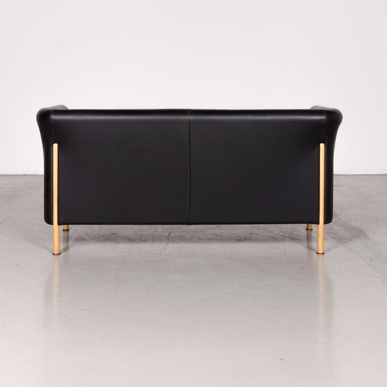 Moroso Designer Leather Sofa in Black, Two-Seat Couch 3