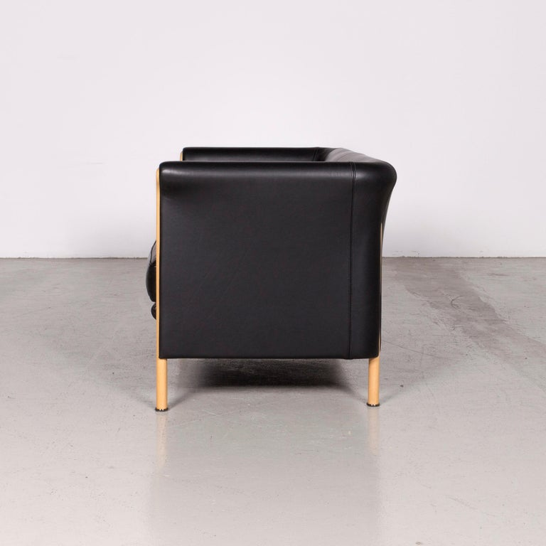 Moroso Designer Leather Sofa in Black, Two-Seat Couch 4