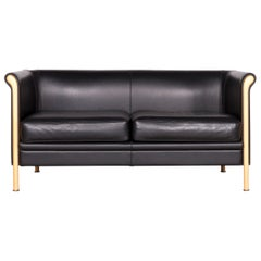 Moroso Designer Leather Sofa in Black, Two-Seat Couch