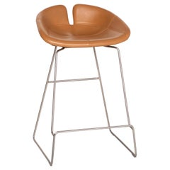 Moroso Fjord Leather Bar Stool Cognac Brown Chair