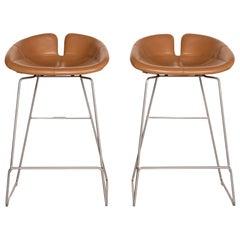 Moroso Fjord Leather Bar Stool Set Cognac Brown 2x Chair