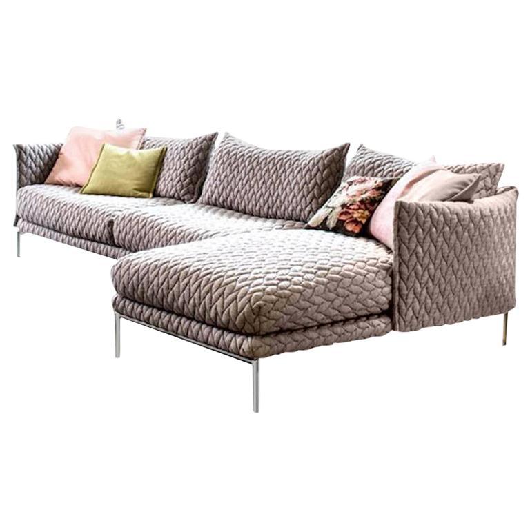 Moroso Gentry Sofa in Big Braid Capuccino by Patricia Urquiola For Sale