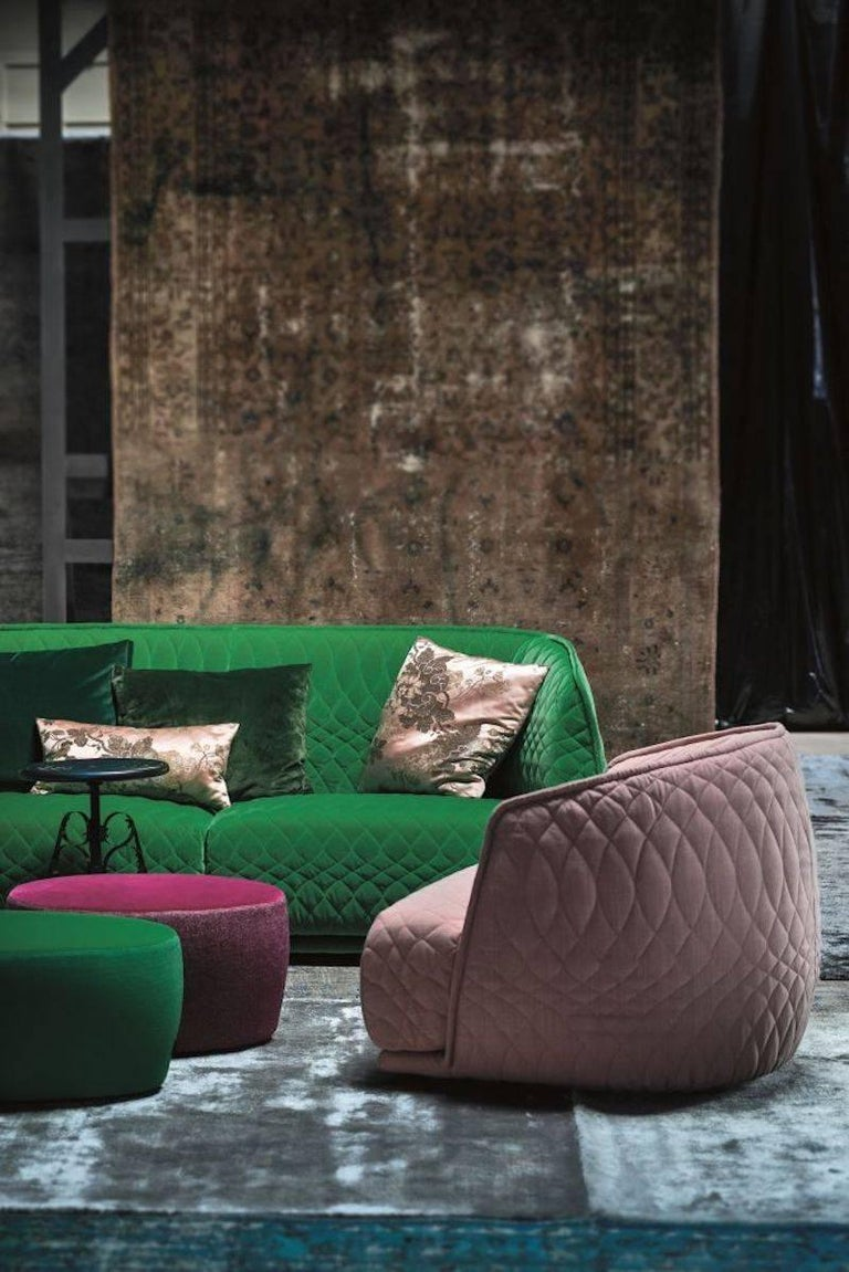 Modern Moroso Redondo Three Seat Sofa In Quilted Upholstery By Patricia Urquiola For