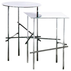 Moroso Shanghai Tip Square Low Table in Chrome by Patricia Urquiola