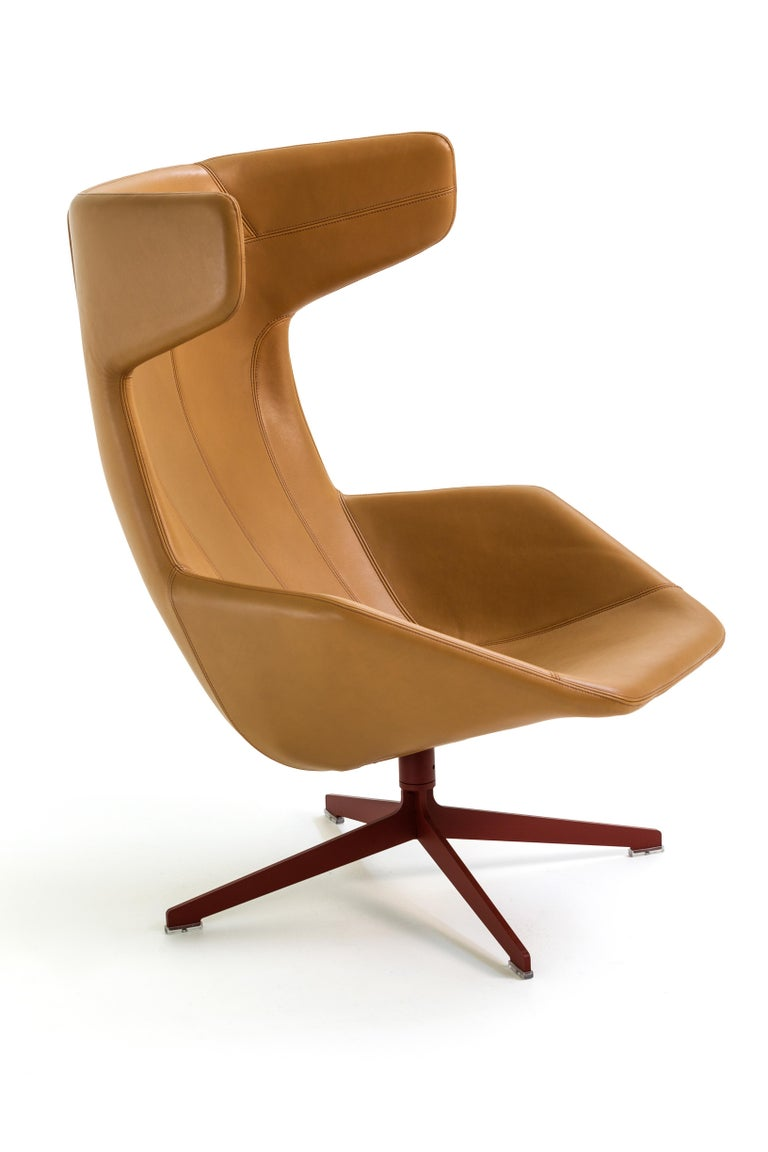 Modern Moroso Take a Line for a Walk Leather Revolving Armchair by Alfredo Häberli For Sale