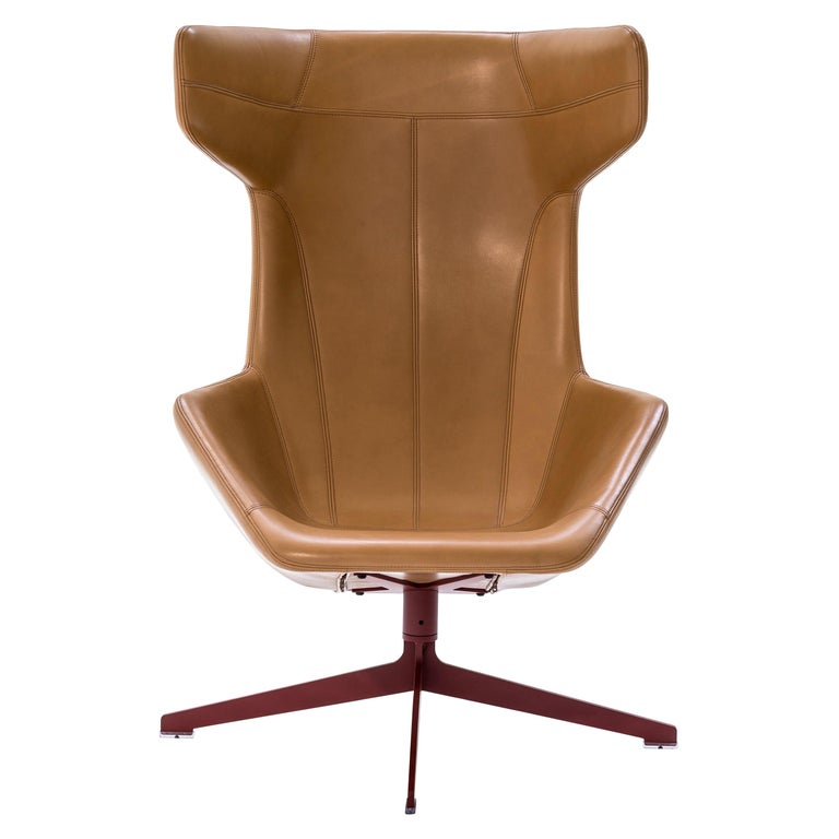 Moroso Take a Line for a Walk Leather Revolving Armchair by Alfredo Häberli For Sale