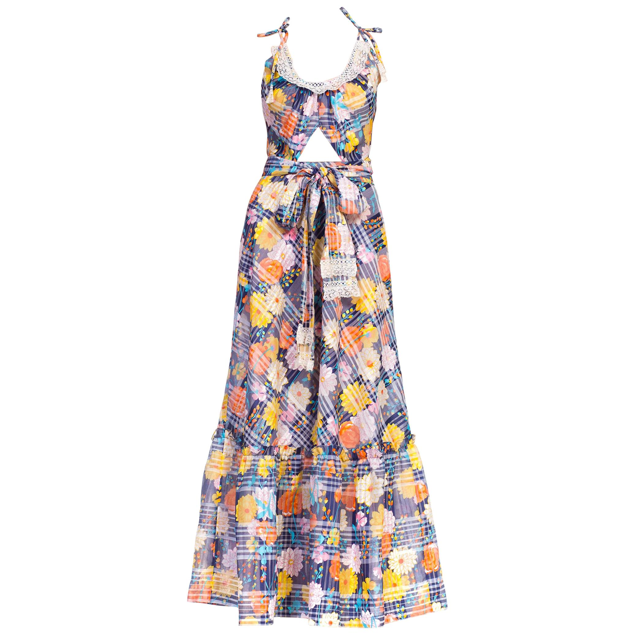 Morphew Collection Summer Maxi Dress Made From 1970S Floral Printed Lt Weight JM
