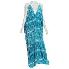 MORPHEW COLLECTION Teal Paisley Poly Blend Easy Breezy Everbody Maxi Dress Made