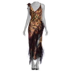 Morphew Collection 1920's Lame Silk Tulle Backless Bias Dress