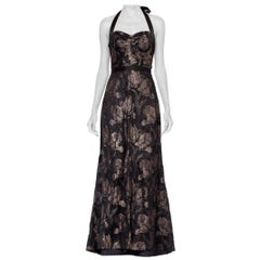 MORPHEW COLLECTION Fully Lined Gown Made From 1930'S Metallic Floral Silk Lamé