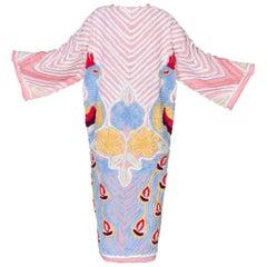Morphew Collection 1940's Chenille Peacock Kimono Beach coat