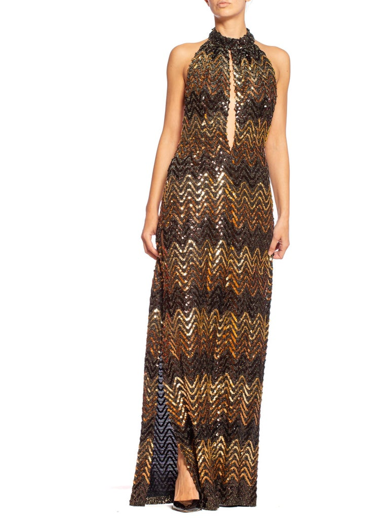 Morphew Collection 1970's Backless Disco Gown in Vintage Sequin + Lurex With Slit