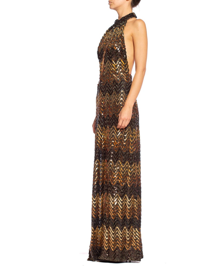Morphew Collection 1970's Backless Disco Gown in Vintage Sequin +Lurex With Slit In Excellent Condition For Sale In New York, NY