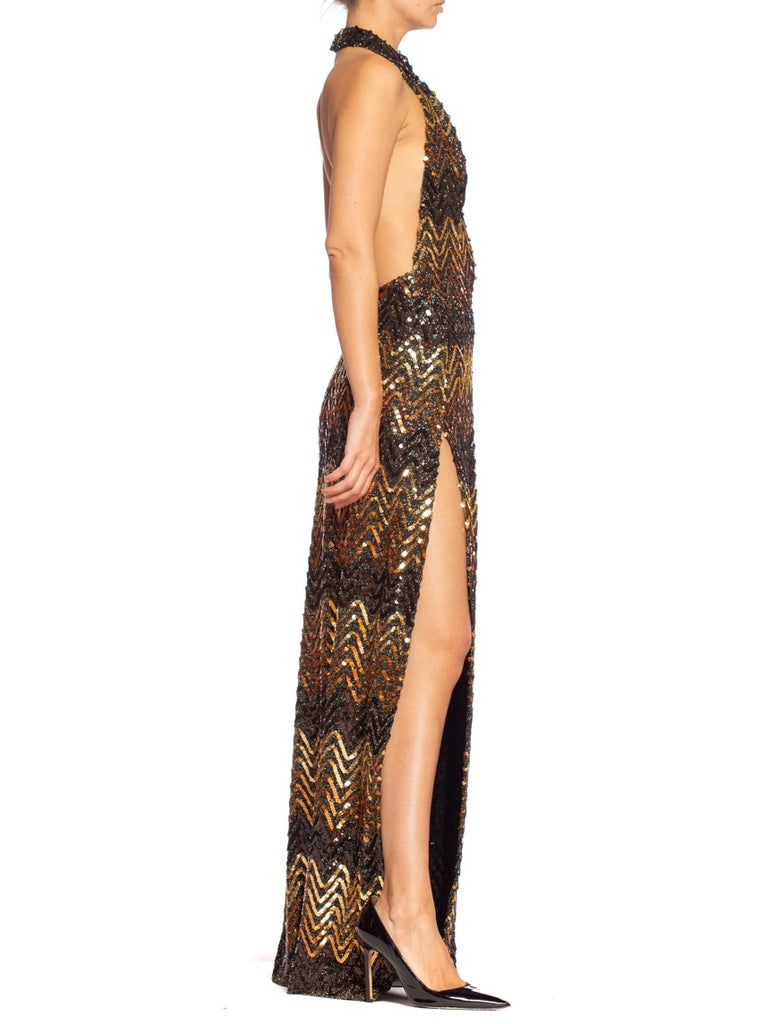 Women's Morphew Collection 1970's Backless Disco Gown in Vintage Sequin +Lurex With Slit For Sale