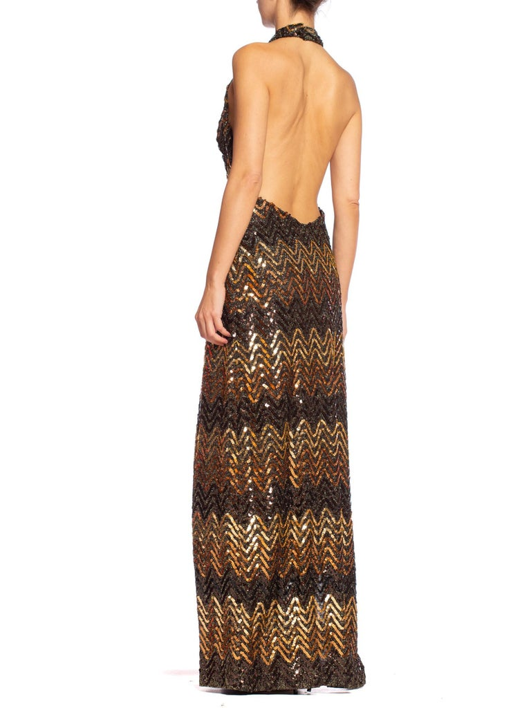 Morphew Collection 1970's Backless Disco Gown in Vintage Sequin +Lurex With Slit For Sale 2