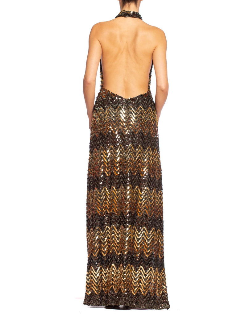 Morphew Collection 1970's Backless Disco Gown in Vintage Sequin +Lurex With Slit For Sale 3