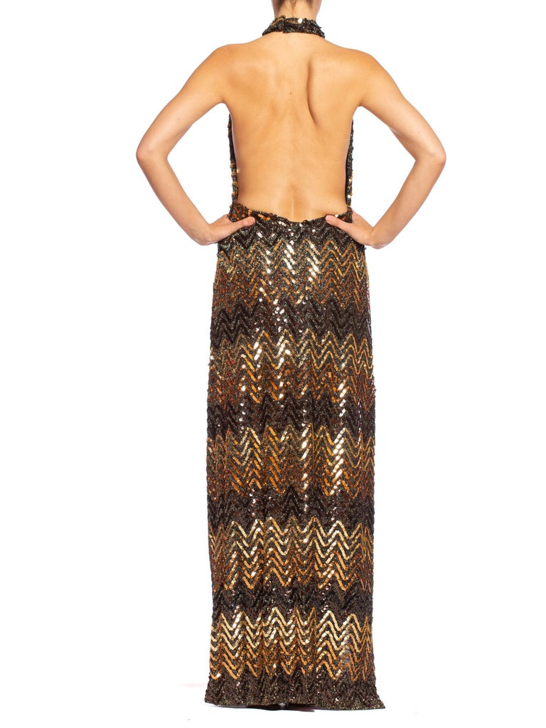 Morphew Collection 1970's Backless Disco Gown in Vintage Sequin +Lurex With Slit For Sale 4