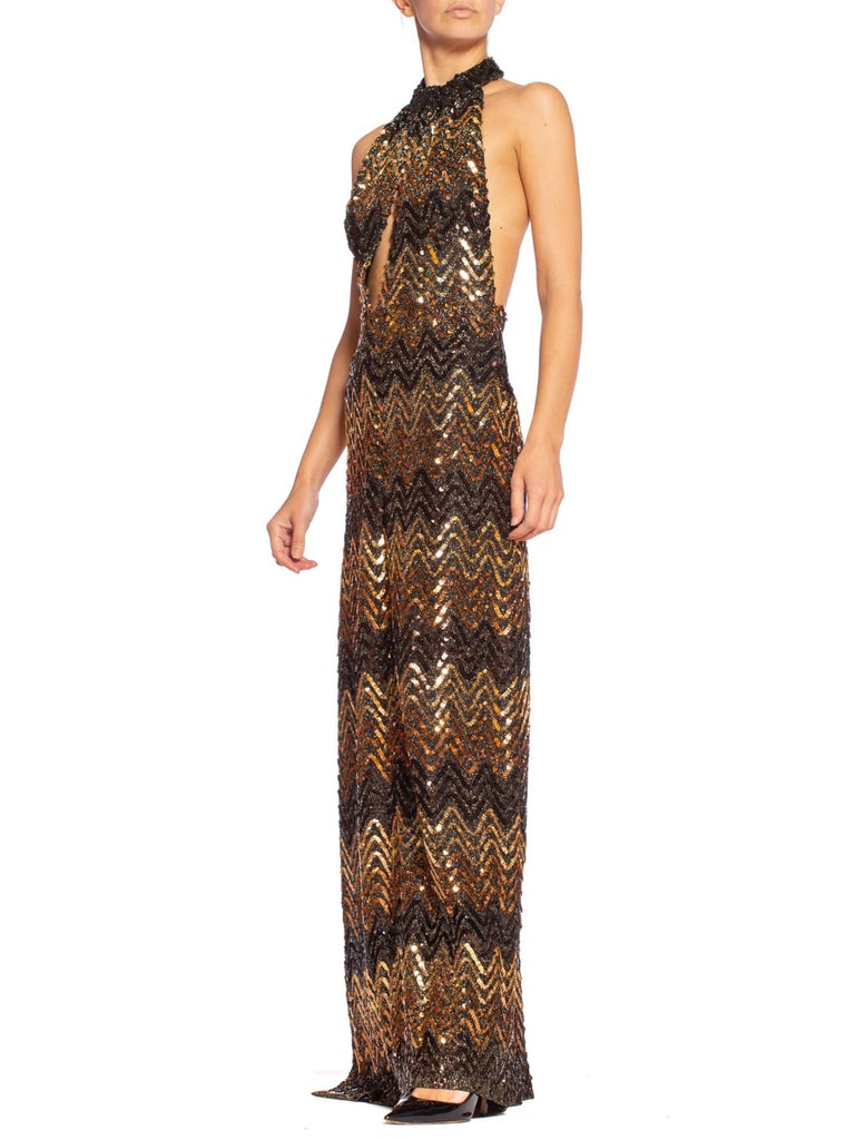 Morphew Collection 1970's Backless Disco Gown in Vintage Sequin +Lurex With Slit For Sale 5