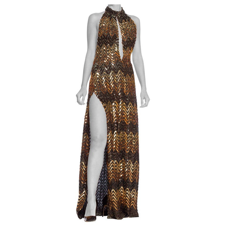 Morphew Collection 1970's Backless Disco Gown in Vintage Sequin +Lurex With Slit For Sale